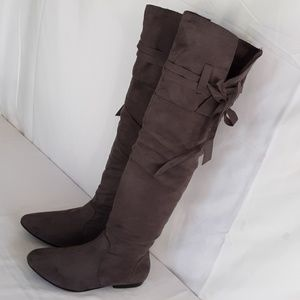 JUSTFAB OVER THE KNEE GERMAN GREY BOOTS